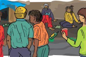 Illustration Homeless people RGB